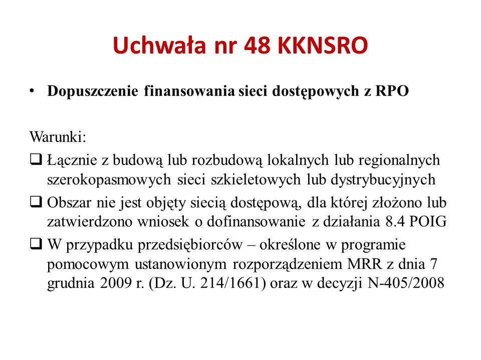 Uchwała nr 48 KKNSRO Dopuszczenie finansowania sieci dostępowych z RPO