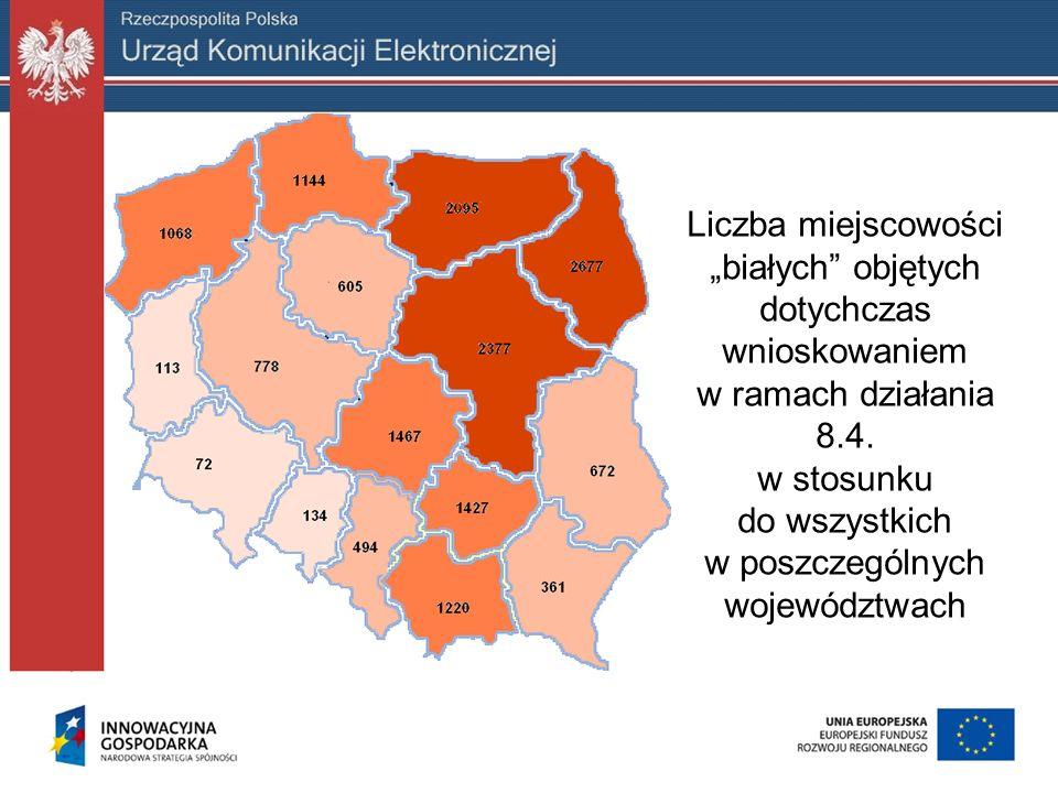 """Liczba miejscowości """"białych objętych dotychczas wnioskowaniem w ramach działania 8.4."""