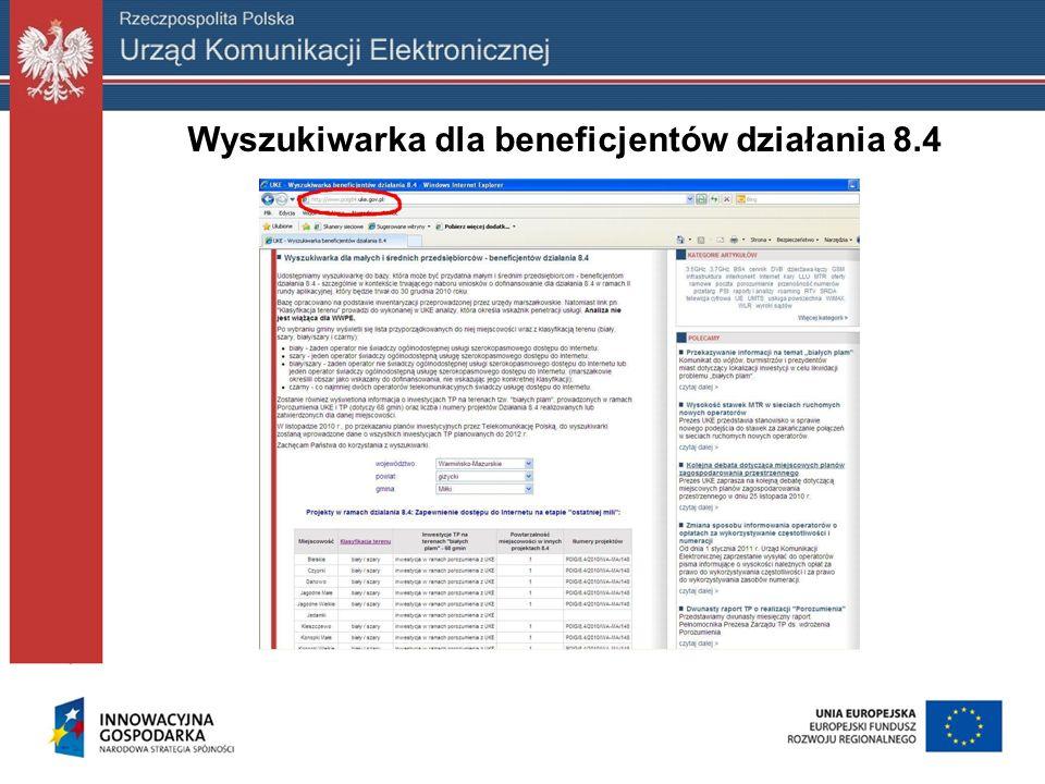 Wyszukiwarka dla beneficjentów działania 8.4