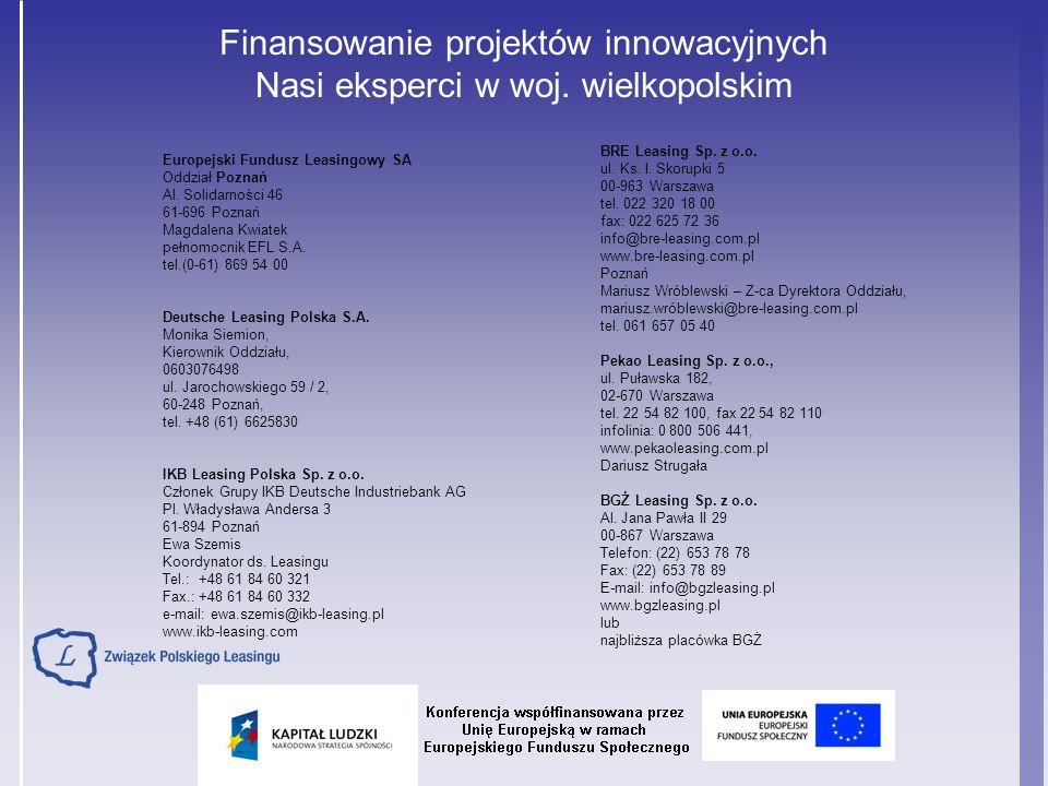 Finansowanie projektów innowacyjnych Nasi eksperci w woj. wielkopolskim