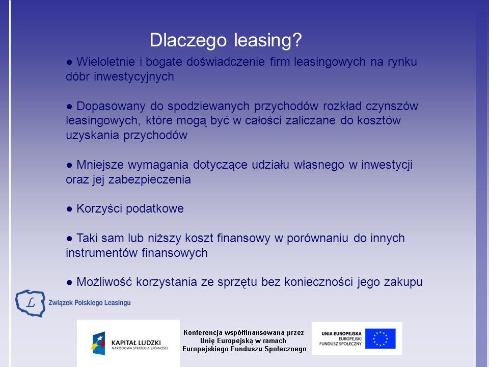 Dlaczego leasing ● Wieloletnie i bogate doświadczenie firm leasingowych na rynku. dóbr inwestycyjnych.