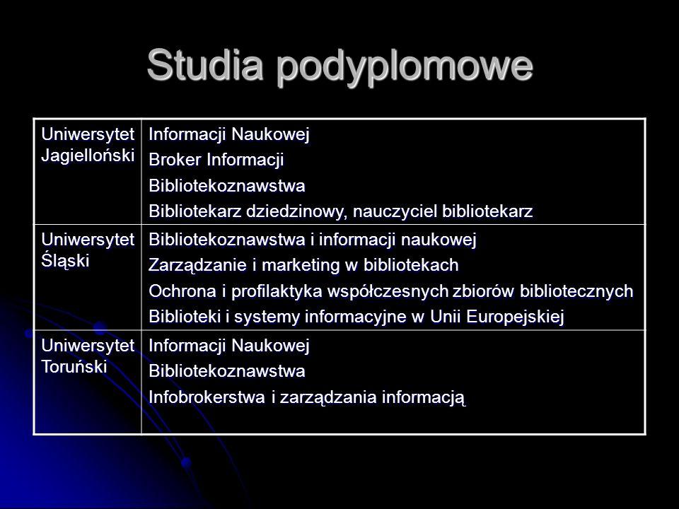 Studia podyplomowe Uniwersytet Jagielloński Informacji Naukowej