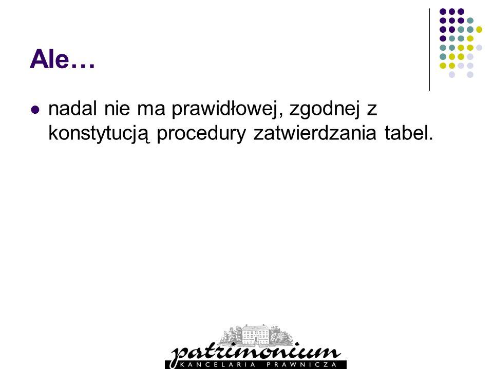 Ale… nadal nie ma prawidłowej, zgodnej z konstytucją procedury zatwierdzania tabel.
