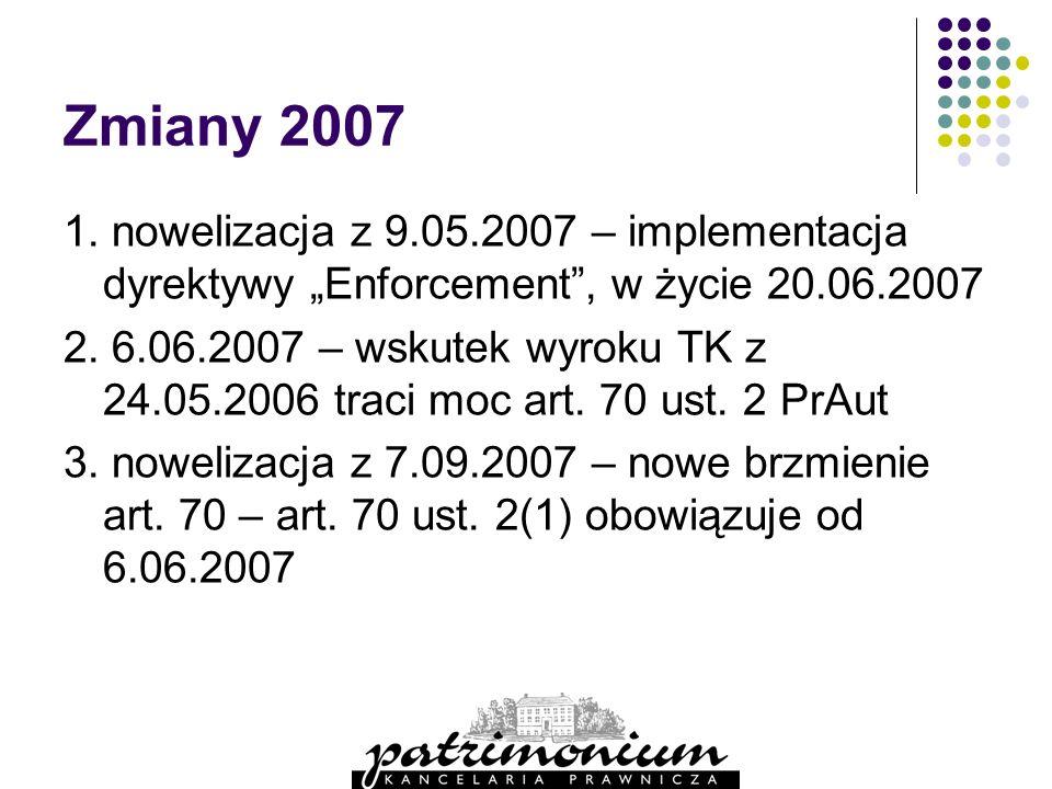 """Zmiany 2007 1. nowelizacja z 9.05.2007 – implementacja dyrektywy """"Enforcement , w życie 20.06.2007."""
