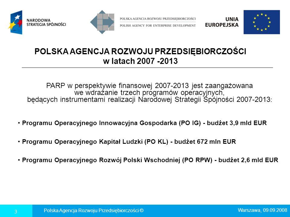 POLSKA AGENCJA ROZWOJU PRZEDSIĘBIORCZOŚCI w latach 2007 -2013