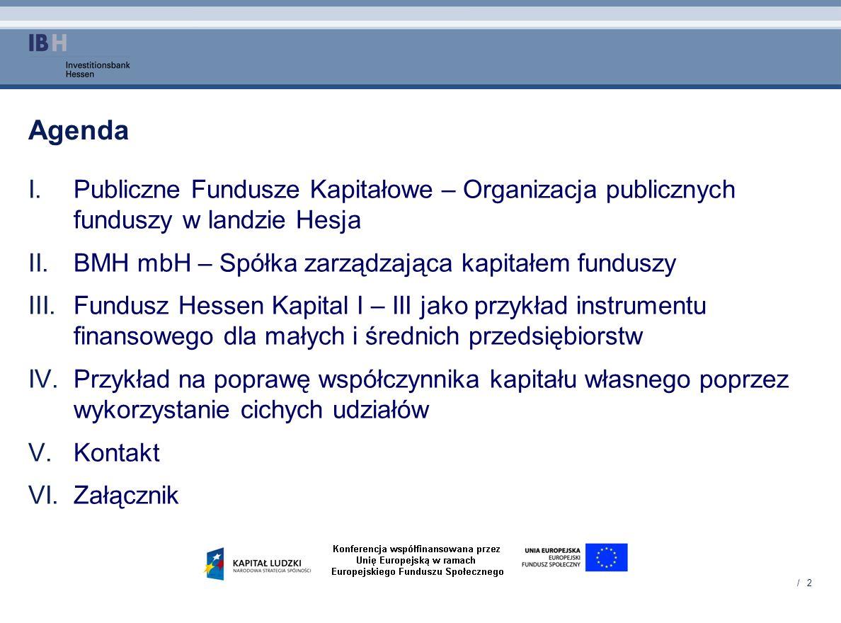 Agenda Publiczne Fundusze Kapitałowe – Organizacja publicznych funduszy w landzie Hesja. BMH mbH – Spółka zarządzająca kapitałem funduszy.
