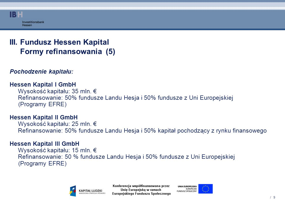 III. Fundusz Hessen Kapital Formy refinansowania (5)