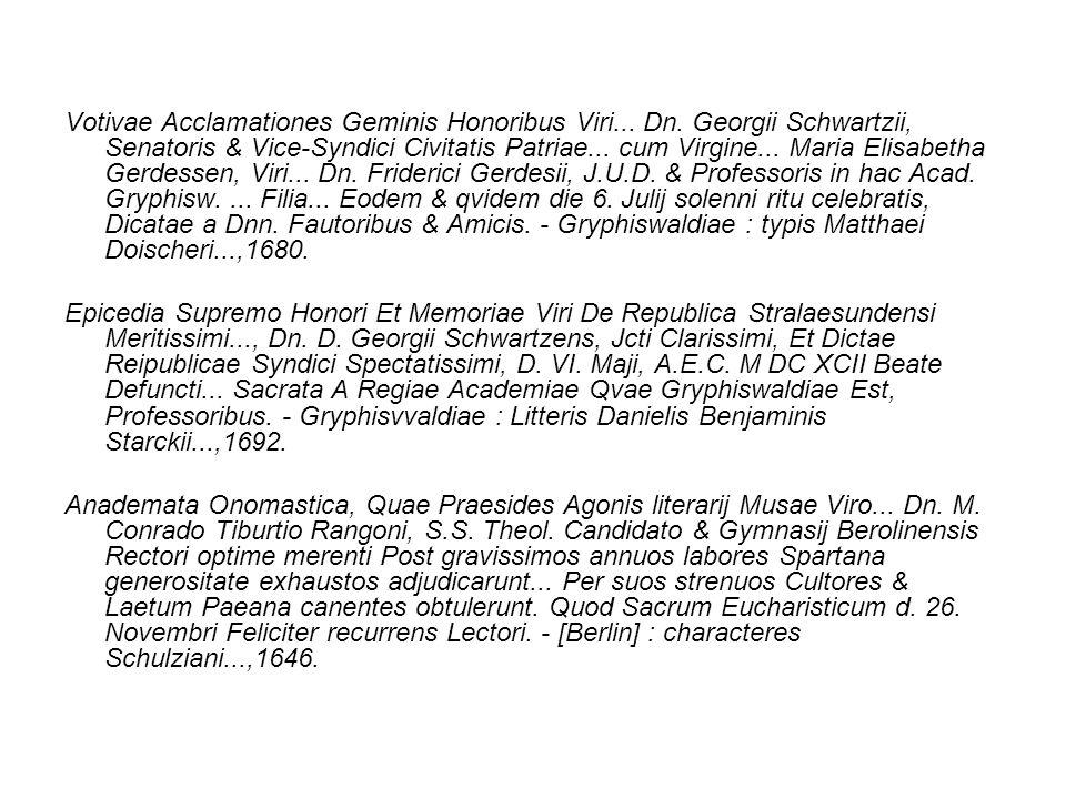 Votivae Acclamationes Geminis Honoribus Viri. Dn