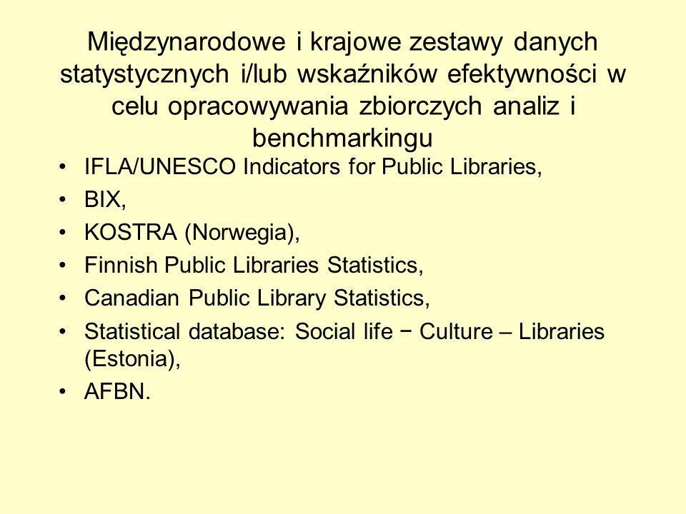 Międzynarodowe i krajowe zestawy danych statystycznych i/lub wskaźników efektywności w celu opracowywania zbiorczych analiz i benchmarkingu