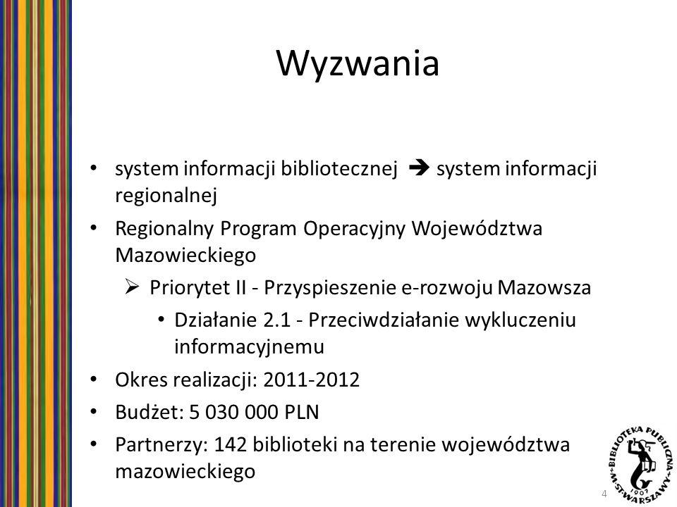 Wyzwania system informacji bibliotecznej  system informacji regionalnej. Regionalny Program Operacyjny Województwa Mazowieckiego.