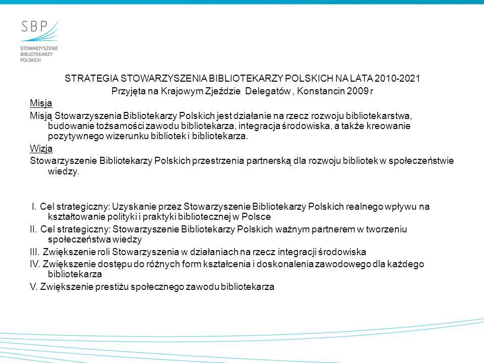 STRATEGIA STOWARZYSZENIA BIBLIOTEKARZY POLSKICH NA LATA 2010-2021