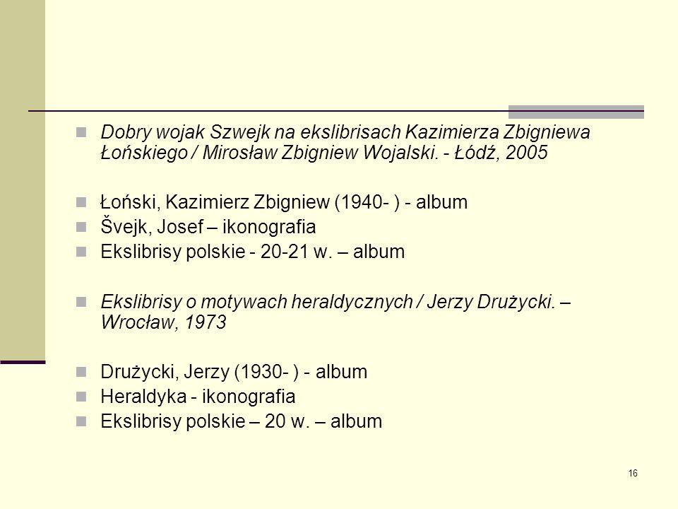 Dobry wojak Szwejk na ekslibrisach Kazimierza Zbigniewa Łońskiego / Mirosław Zbigniew Wojalski. - Łódź, 2005
