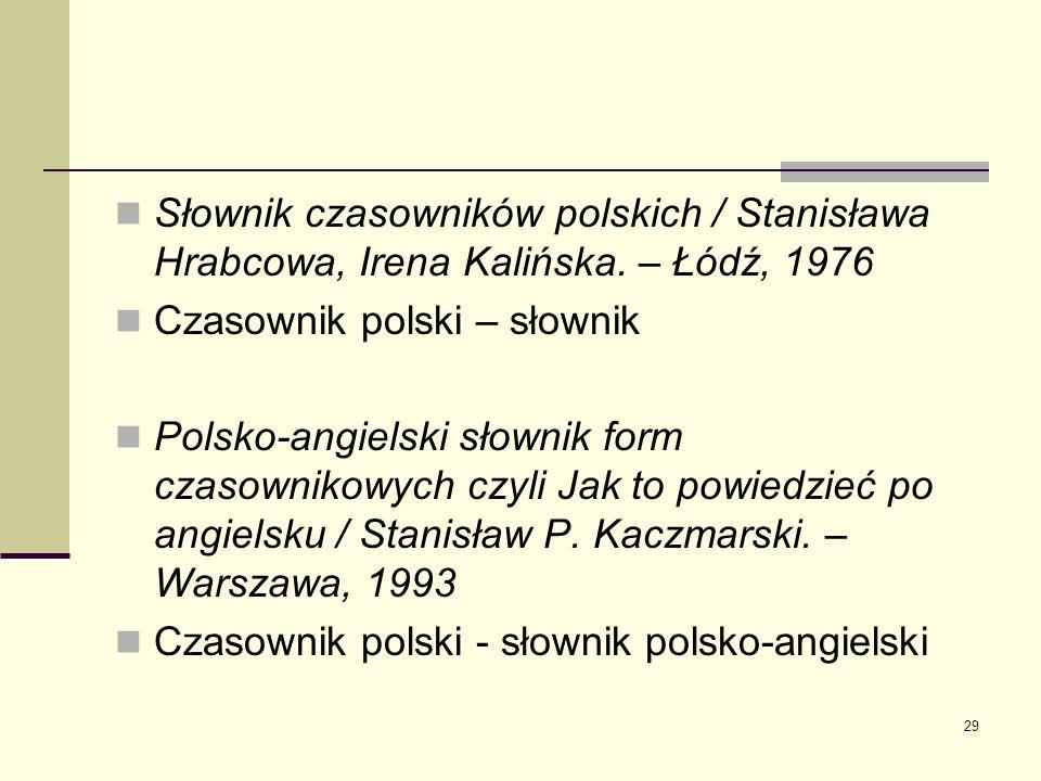 Słownik czasowników polskich / Stanisława Hrabcowa, Irena Kalińska