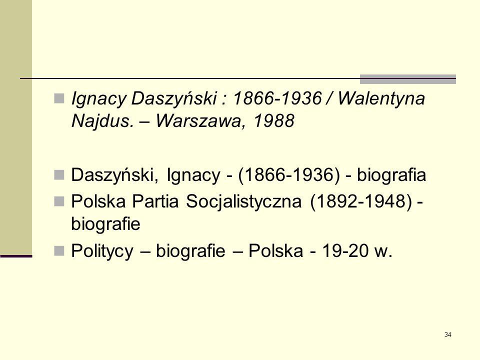 Ignacy Daszyński : 1866-1936 / Walentyna Najdus. – Warszawa, 1988