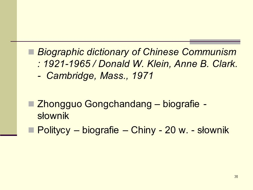 Biographic dictionary of Chinese Communism : 1921-1965 / Donald W