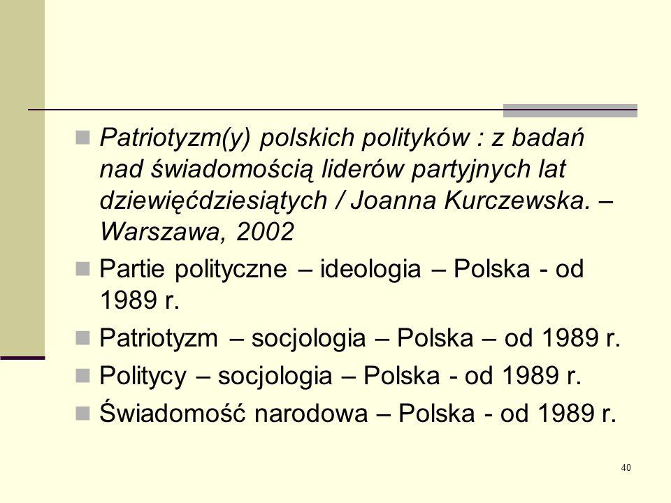 Patriotyzm(y) polskich polityków : z badań nad świadomością liderów partyjnych lat dziewięćdziesiątych / Joanna Kurczewska. – Warszawa, 2002