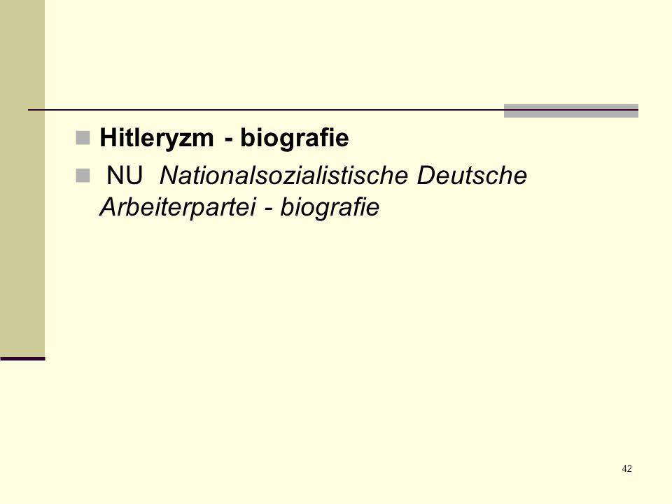 Hitleryzm - biografie NU Nationalsozialistische Deutsche Arbeiterpartei - biografie