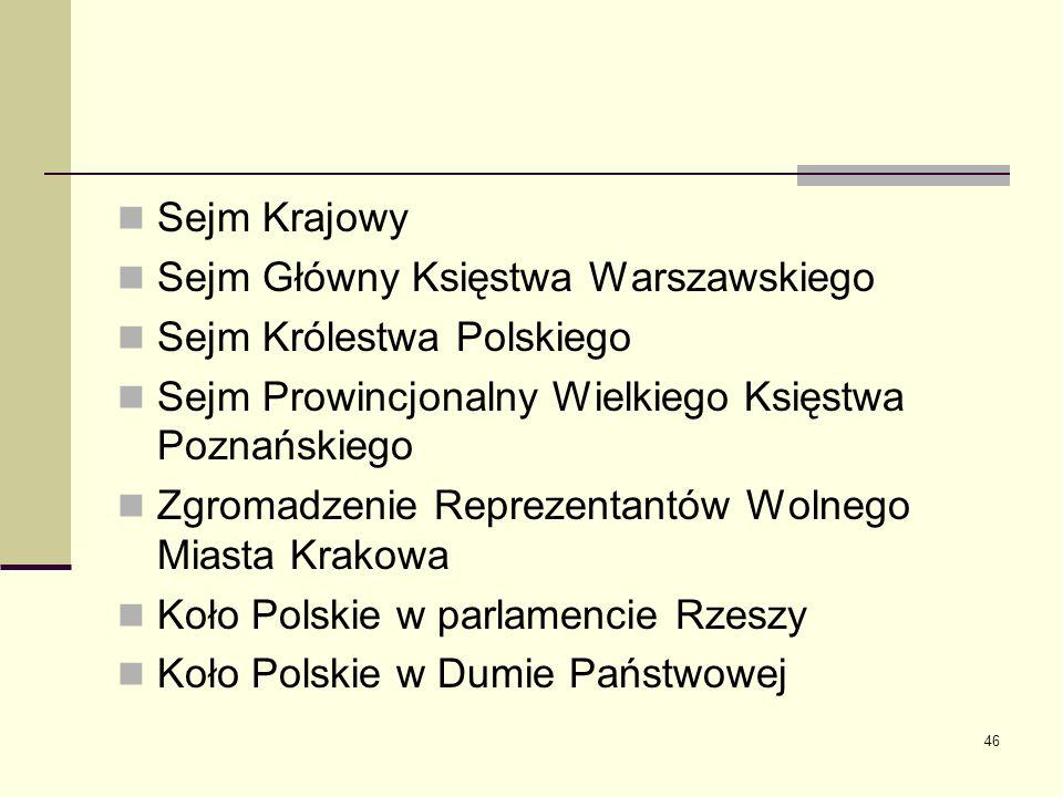 Sejm Krajowy Sejm Główny Księstwa Warszawskiego. Sejm Królestwa Polskiego. Sejm Prowincjonalny Wielkiego Księstwa Poznańskiego.