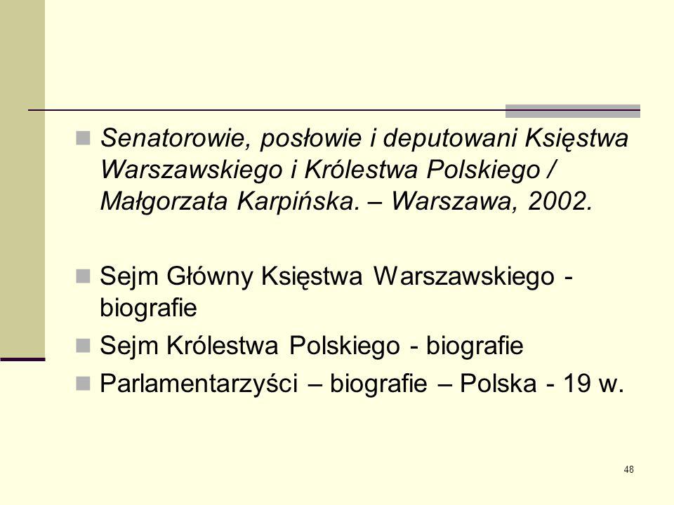 Senatorowie, posłowie i deputowani Księstwa Warszawskiego i Królestwa Polskiego / Małgorzata Karpińska. – Warszawa, 2002.