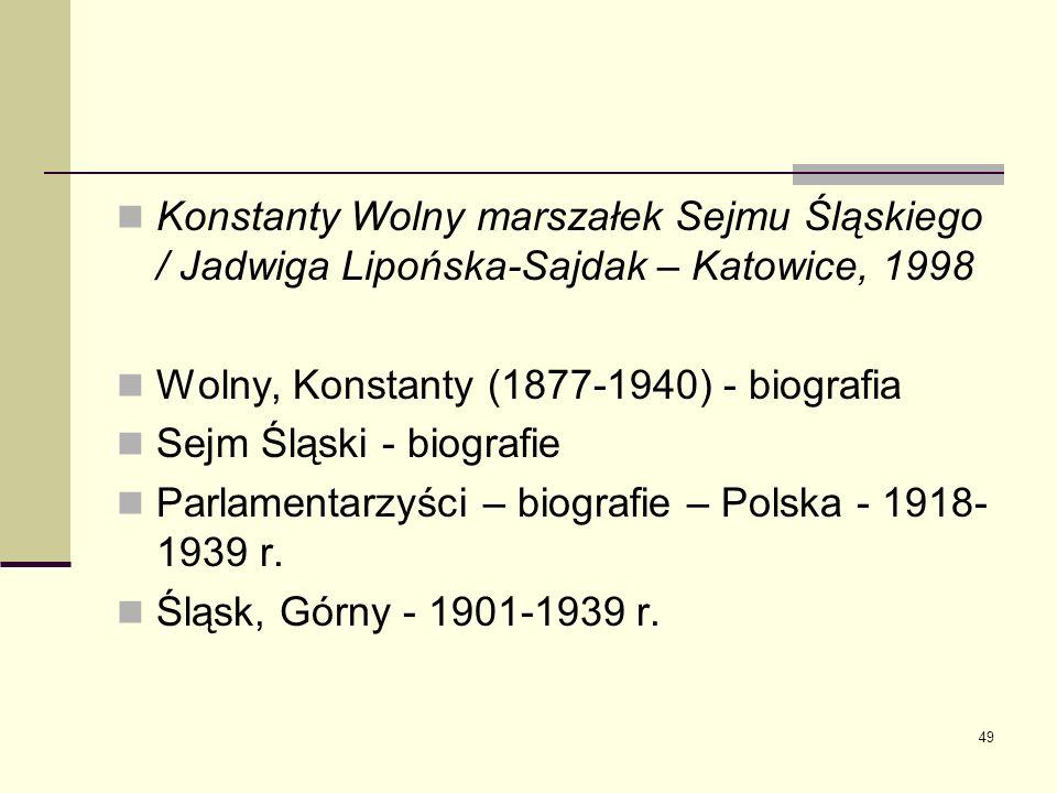 Konstanty Wolny marszałek Sejmu Śląskiego / Jadwiga Lipońska-Sajdak – Katowice, 1998