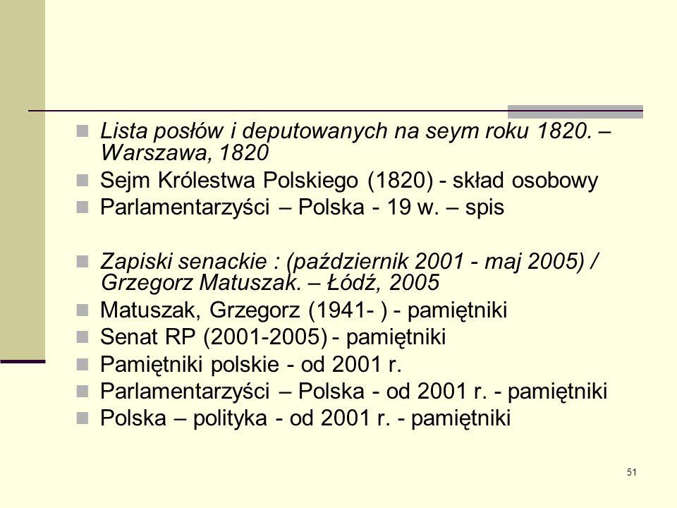 Lista posłów i deputowanych na seym roku 1820. – Warszawa, 1820
