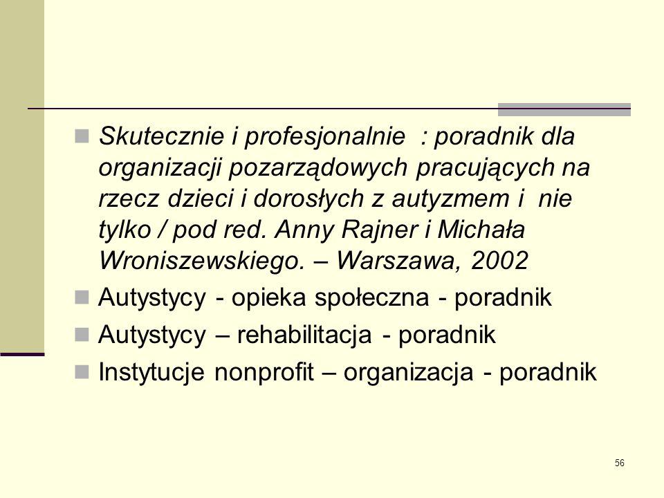 Skutecznie i profesjonalnie : poradnik dla organizacji pozarządowych pracujących na rzecz dzieci i dorosłych z autyzmem i nie tylko / pod red. Anny Rajner i Michała Wroniszewskiego. – Warszawa, 2002