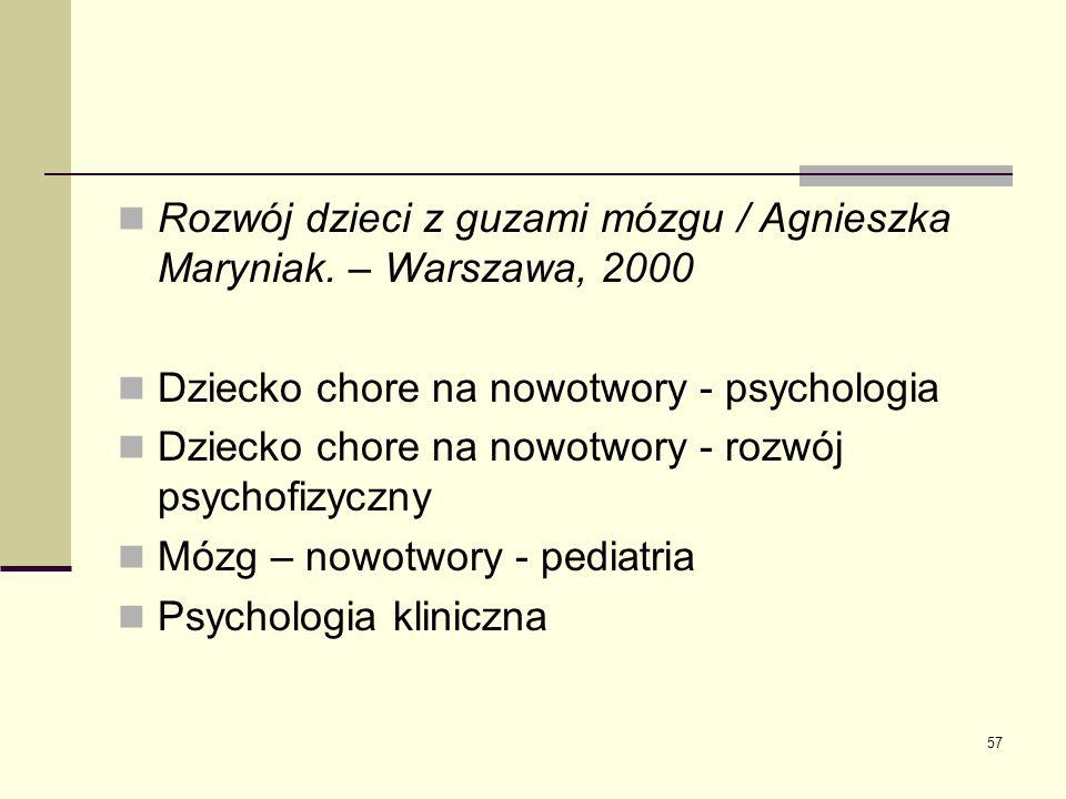 Rozwój dzieci z guzami mózgu / Agnieszka Maryniak. – Warszawa, 2000