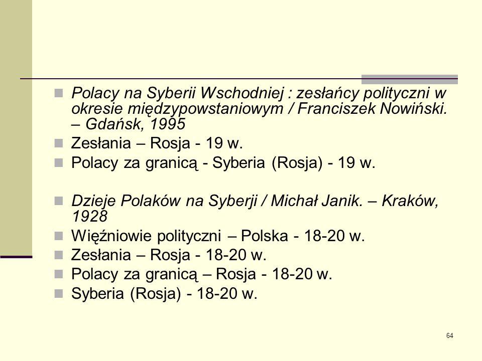 Polacy na Syberii Wschodniej : zesłańcy polityczni w okresie międzypowstaniowym / Franciszek Nowiński. – Gdańsk, 1995