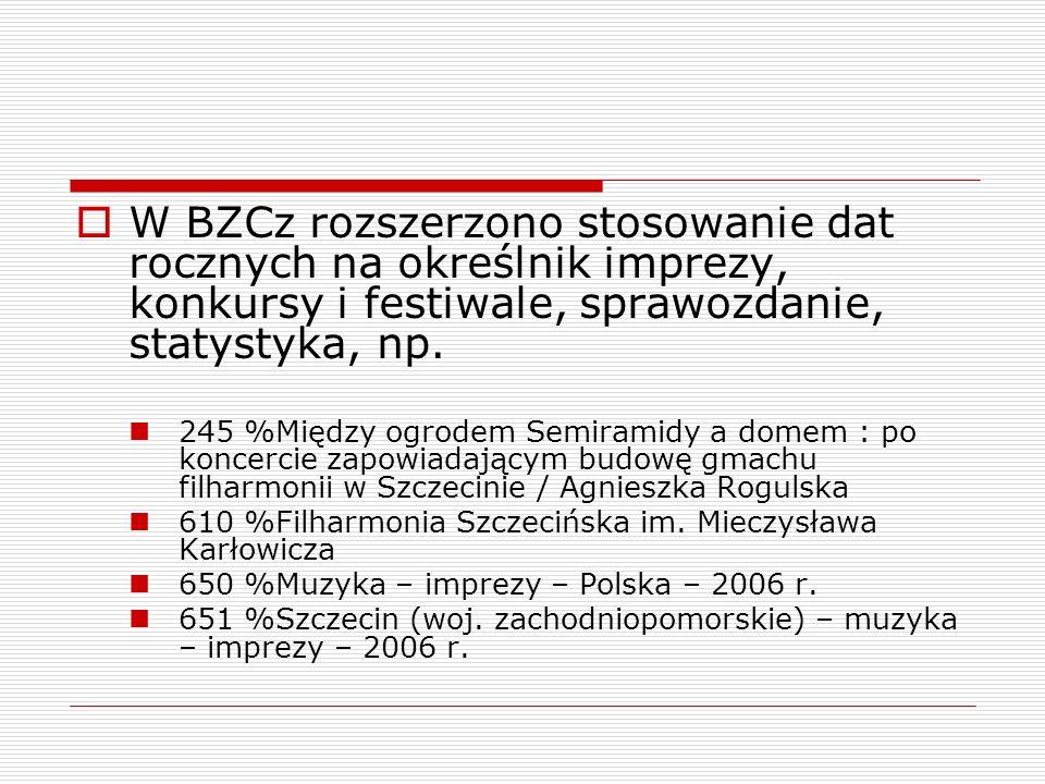 W BZCz rozszerzono stosowanie dat rocznych na określnik imprezy, konkursy i festiwale, sprawozdanie, statystyka, np.