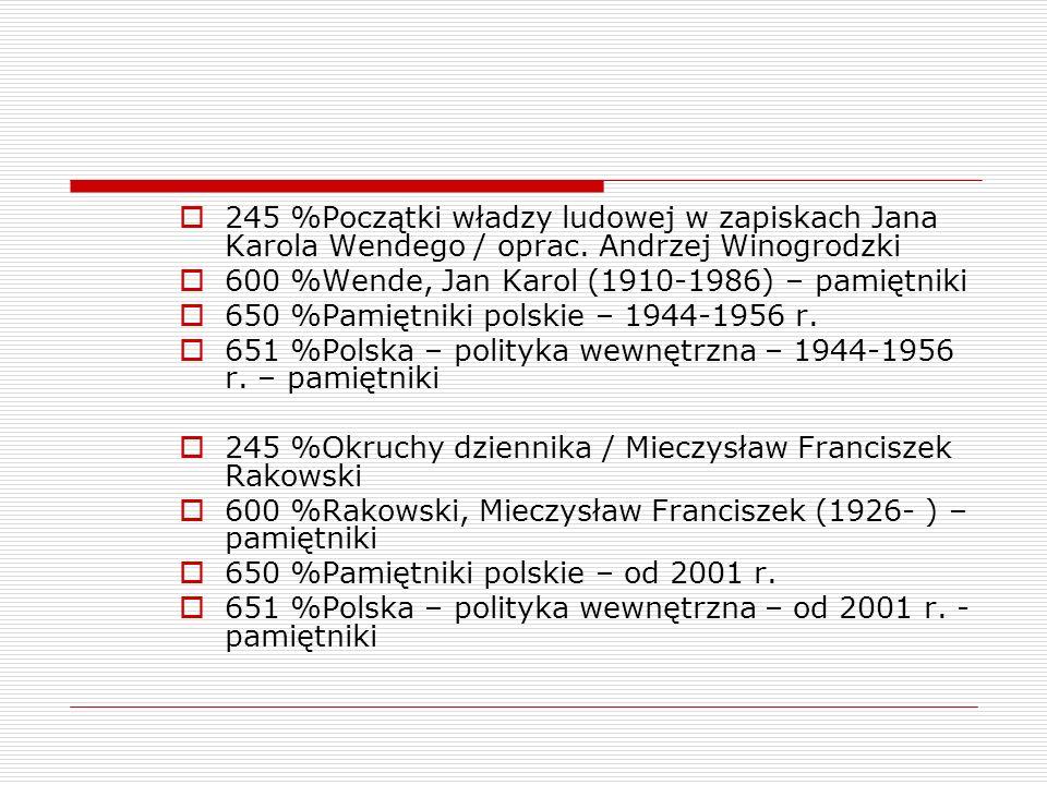 245 %Początki władzy ludowej w zapiskach Jana Karola Wendego / oprac