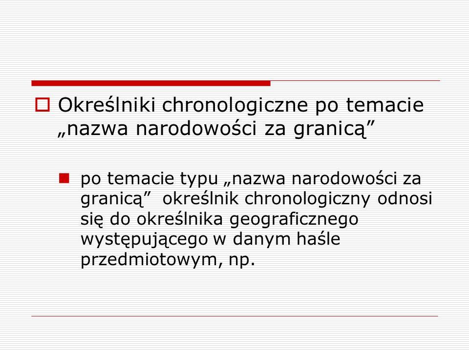 """Określniki chronologiczne po temacie """"nazwa narodowości za granicą"""