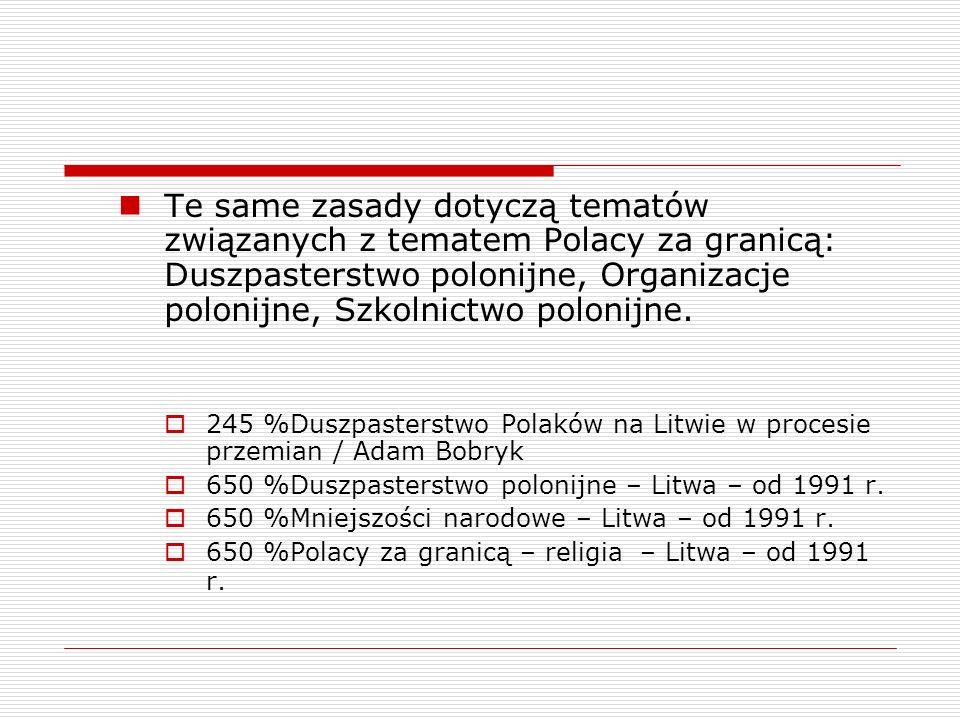 Te same zasady dotyczą tematów związanych z tematem Polacy za granicą: Duszpasterstwo polonijne, Organizacje polonijne, Szkolnictwo polonijne.