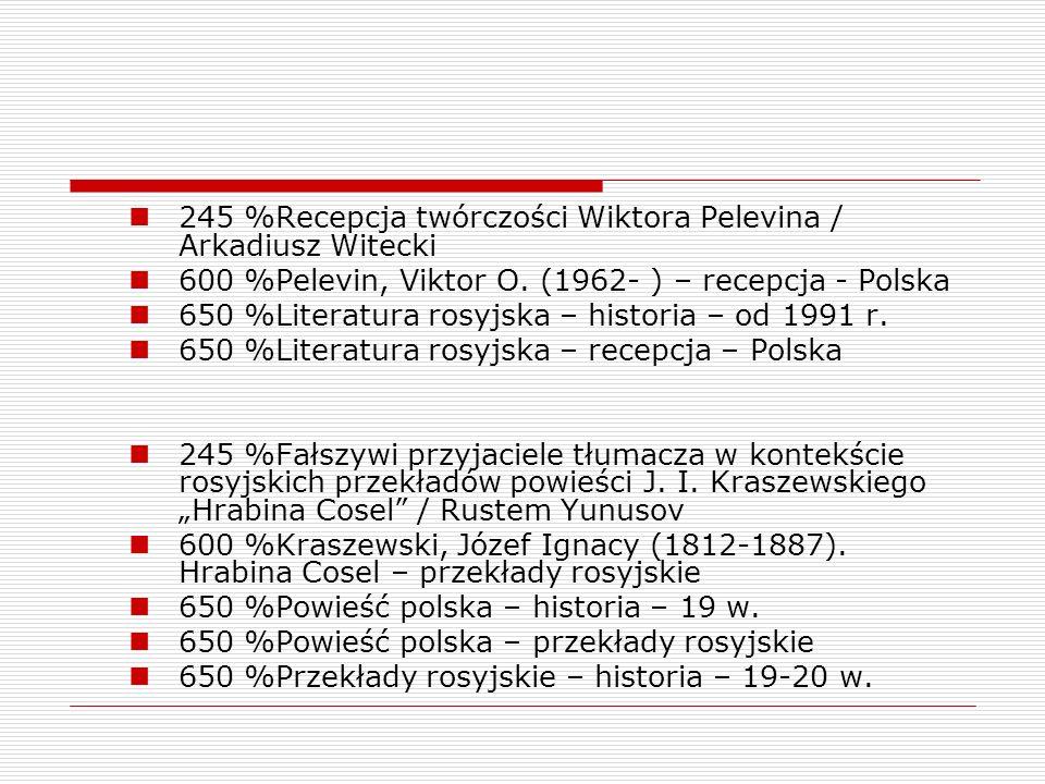 245 %Recepcja twórczości Wiktora Pelevina / Arkadiusz Witecki
