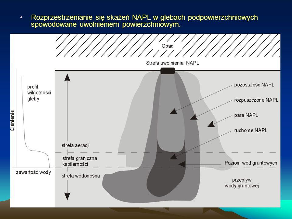 Rozprzestrzenianie się skażeń NAPL w glebach podpowierzchniowych spowodowane uwolnieniem powierzchniowym.