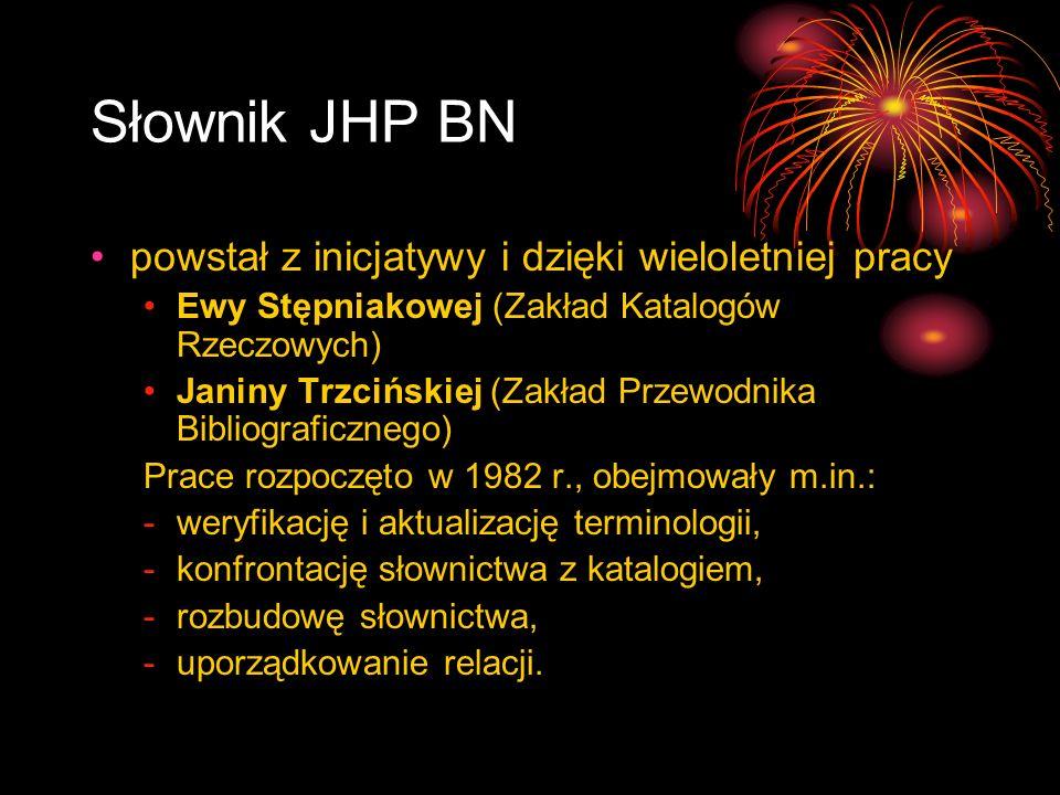 Słownik JHP BN powstał z inicjatywy i dzięki wieloletniej pracy