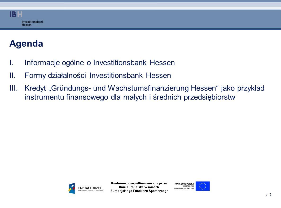 Agenda Informacje ogólne o Investitionsbank Hessen