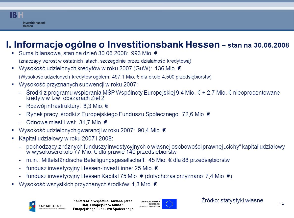 I. Informacje ogólne o Investitionsbank Hessen – stan na 30.06.2008