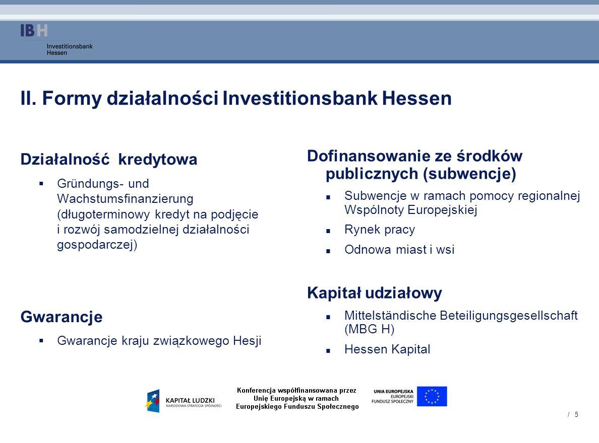 II. Formy działalności Investitionsbank Hessen