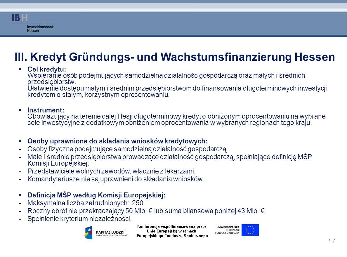 III. Kredyt Gründungs- und Wachstumsfinanzierung Hessen