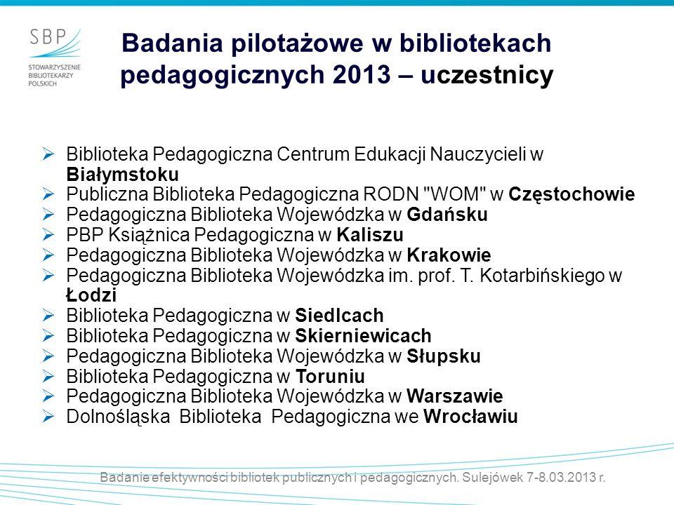 Badania pilotażowe w bibliotekach pedagogicznych 2013 – uczestnicy