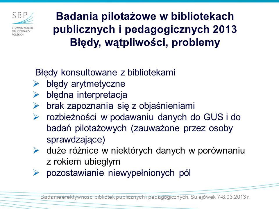 Badania pilotażowe w bibliotekach publicznych i pedagogicznych 2013 Błędy, wątpliwości, problemy