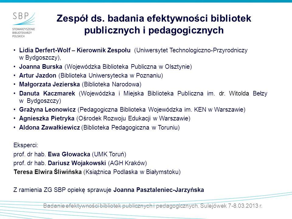 Zespół ds. badania efektywności bibliotek publicznych i pedagogicznych
