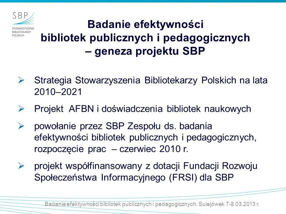 Badanie efektywności bibliotek publicznych i pedagogicznych – geneza projektu SBP