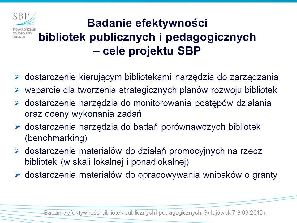 Badanie efektywności bibliotek publicznych i pedagogicznych – cele projektu SBP