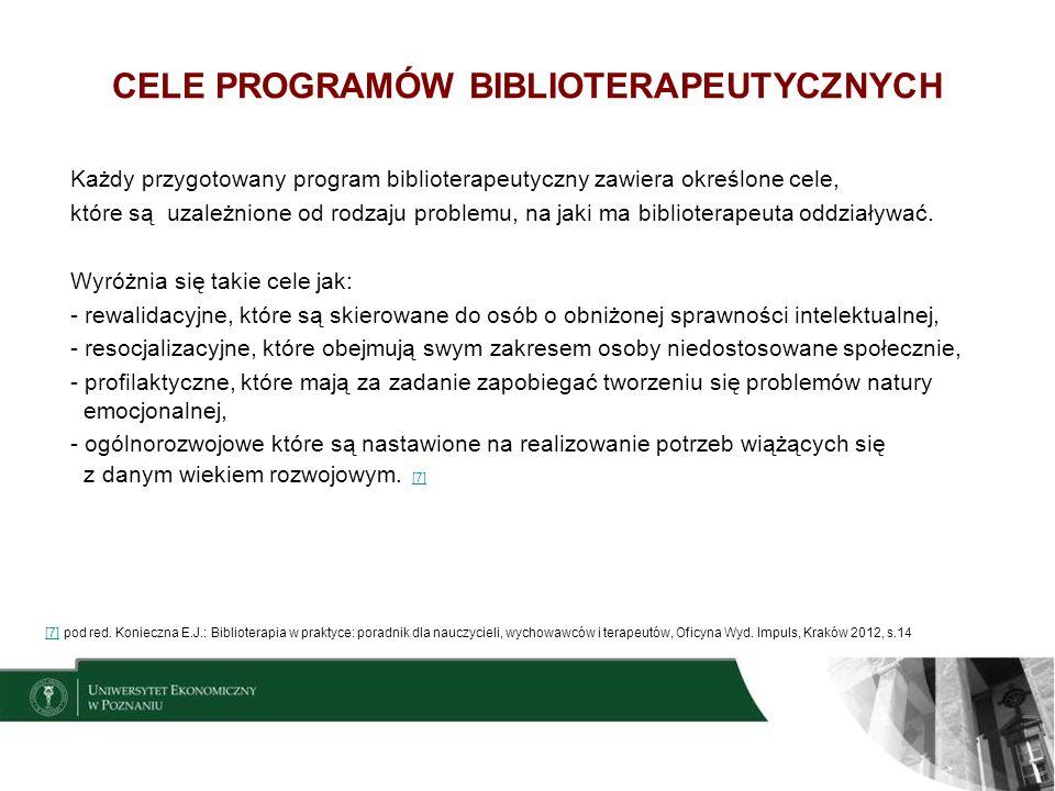 CELE PROGRAMÓW BIBLIOTERAPEUTYCZNYCH
