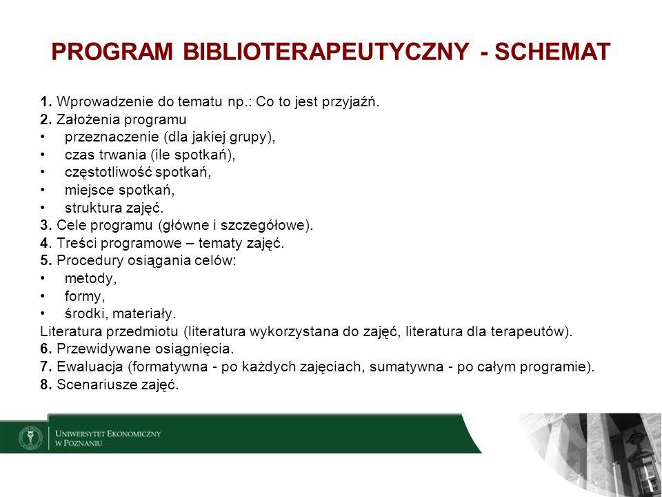 PROGRAM BIBLIOTERAPEUTYCZNY - SCHEMAT