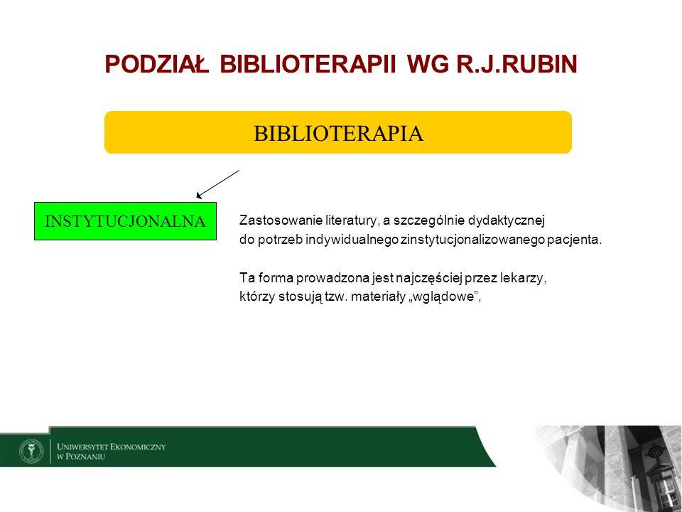 PODZIAŁ BIBLIOTERAPII WG R.J.RUBIN