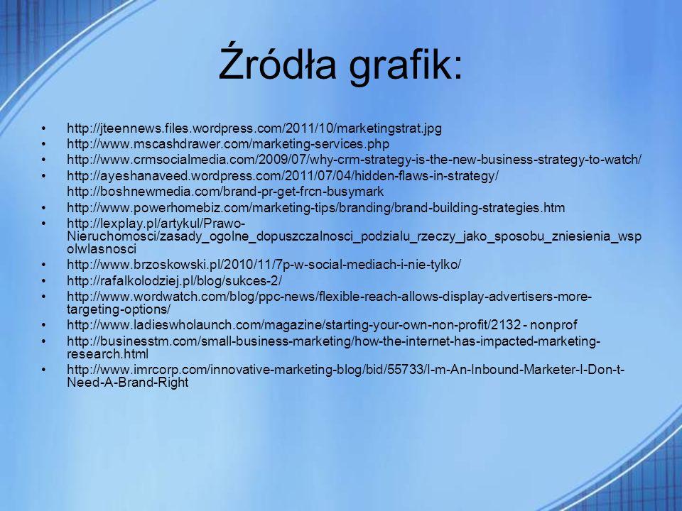 Źródła grafik:http://jteennews.files.wordpress.com/2011/10/marketingstrat.jpg. http://www.mscashdrawer.com/marketing-services.php.