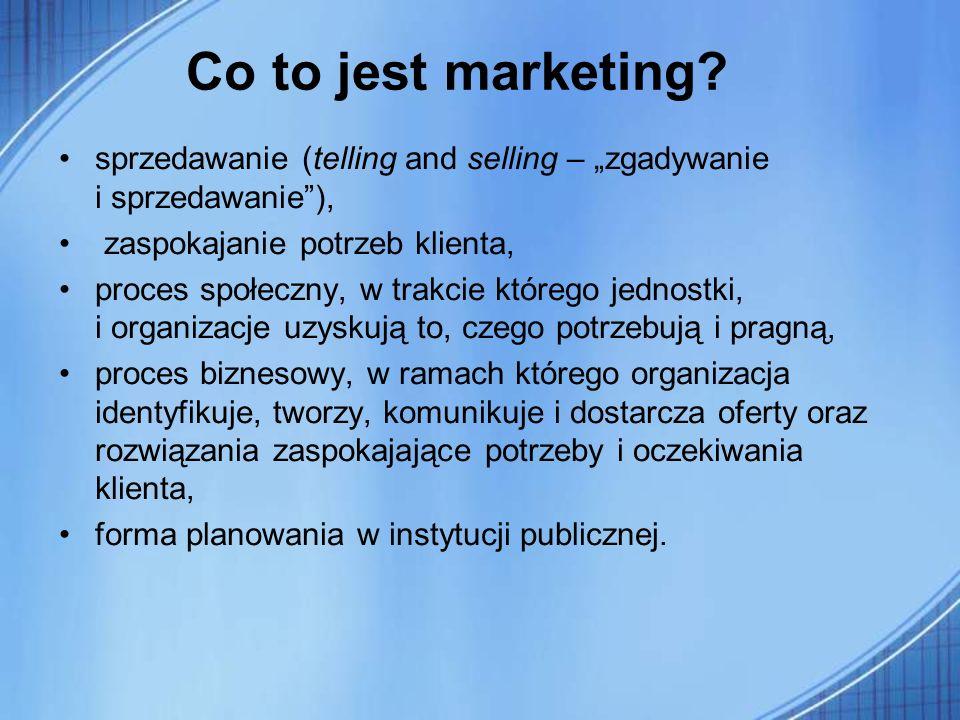 """Co to jest marketing sprzedawanie (telling and selling – """"zgadywanie i sprzedawanie ), zaspokajanie potrzeb klienta,"""