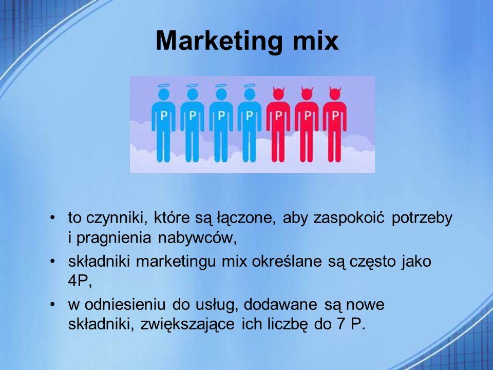 Marketing mix to czynniki, które są łączone, aby zaspokoić potrzeby i pragnienia nabywców, składniki marketingu mix określane są często jako 4P,